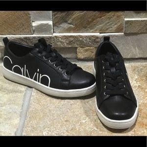 NEW, Calvin Klein, black leather fashion sneakers